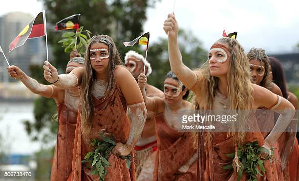 Indigenous artists perform the WugulOra morning ceremony at Barangaroo Reserve on January 26 2016 in Sydney Australia Australia Day formerly known as...