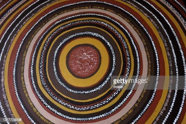 Indigenous Australian art Dot painting background.