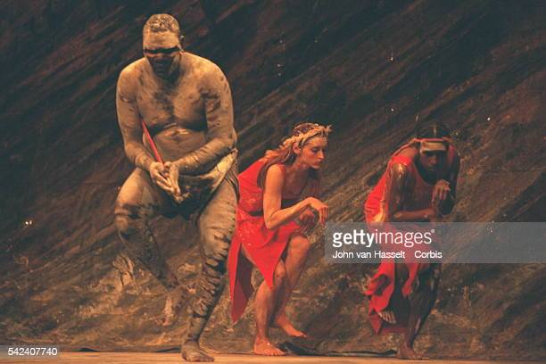 Indigenous Australian contemporary dance company Bangarra Dance Theatre performs during the Corroboree 2000 National Reconciliation Week at the...