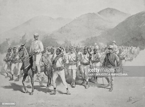 Indigenous battalion on reconnaissance before the Battle of Adwa ItaloAbyssinian War Ethiopia drawing by Dante Paolocci from L'Illustrazione Italiana...