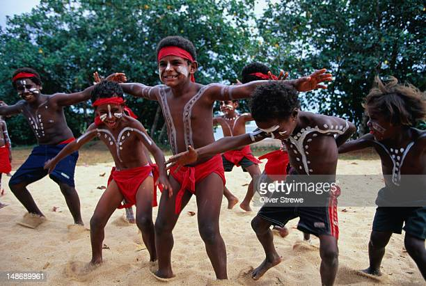 Indigenous boys dancing, Injinoo campus, Bamaga.