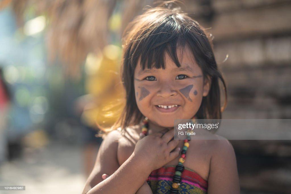 Indigenous Brazilian Child, Portrait from Tupi Guarani Ethnicity : Stock Photo