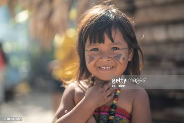indigenous brazilian child, portrait from tupi guarani ethnicity - indigenous culture stock pictures, royalty-free photos & images