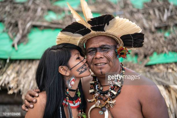 Indigenous Brazilian Mature Man and Her Daughter from Guarani Ethnicity