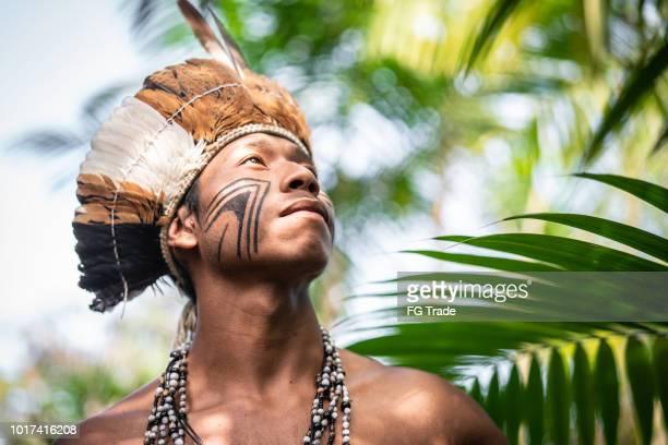 indígena brasileira jovem retrato da etnia guarani - cultura indígena - fotografias e filmes do acervo