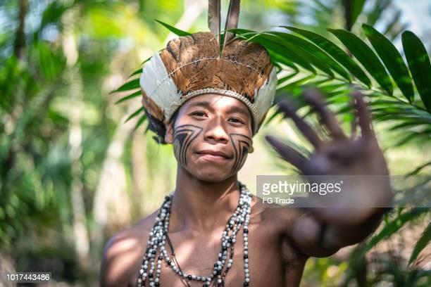 indígena brasileira jovem retrato da etnia guarani - cerimônia de boas vindas - fotografias e filmes do acervo