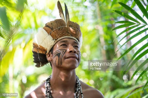 Indigenous Brazilian Young Man Portrait from Guarani Ethnicity