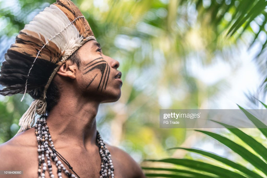 Indigenous Brazilian Young Man Portrait from Guarani Ethnicity : Stock Photo
