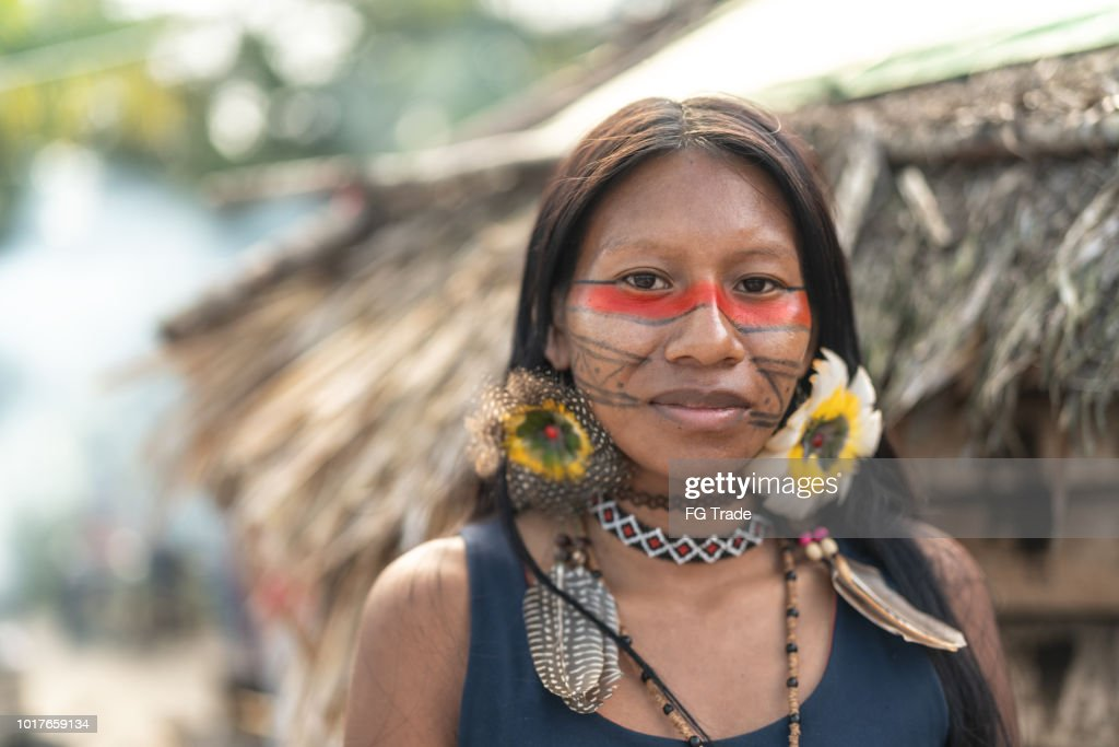 Indigenous Brazilian Young Woman, Portrait from Guarani Ethnicity : Stock Photo