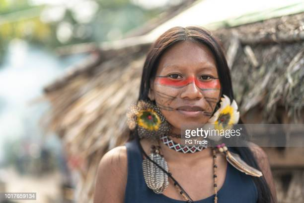 indigenous brazilian young woman, portrait from guarani ethnicity - indigenous culture stock pictures, royalty-free photos & images