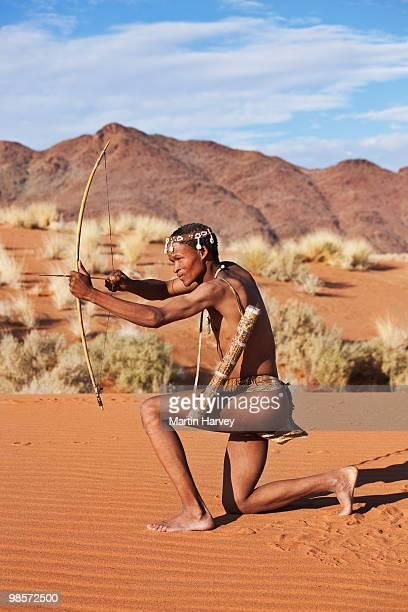 Indigenous Bushman/San hunter from Namibia