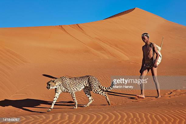 Indigenous Bushman/San hunter (43 years old) hunting with cheetah (Acinonyx jubatus, Namibia (Image taken to raise awareness and funds for the conservation projects of N/a''a