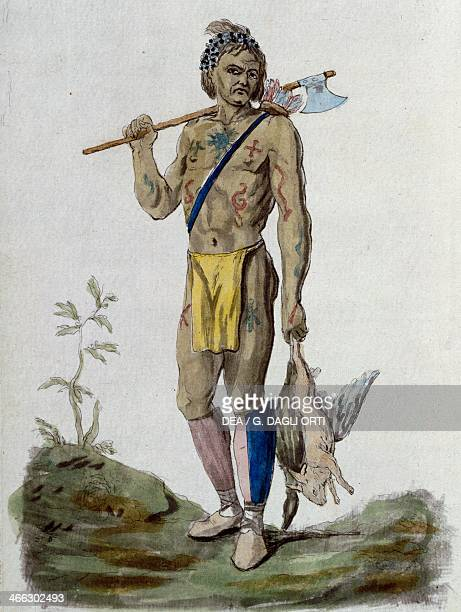 Indigenous Canadian engraving from Costumes civils de tous les peuples connus by Sylvain Marechal