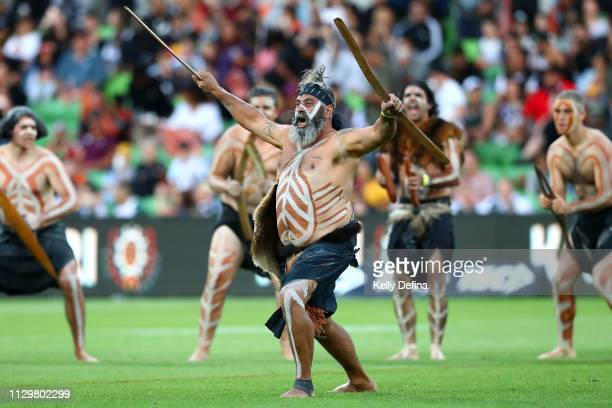 Indigenous cultural performers are seen prior to the NRL exhibition match between the Indigenous All Stars and the Maori All Stars at AAMI Park on...