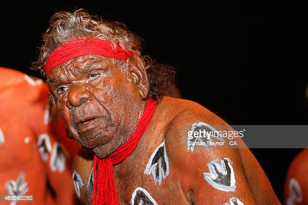 Indigenous dancers perform at the Imparja Cup Gala Dinner on February 14 2015 in Alice Springs Australia