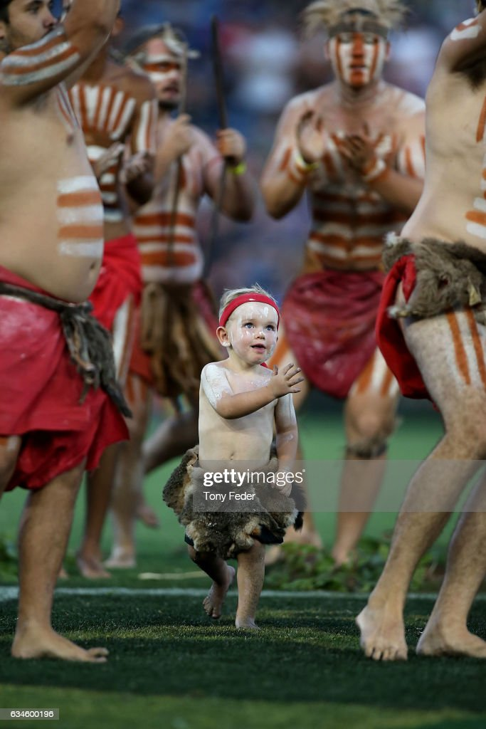 Indigenous dancers perform before the start of the game during the NRL All Stars match between the 2017 Harvey Norman All Stars and the NRL World All Stars at McDonald Jones Stadium on February 10, 2017 in Newcastle, Australia.