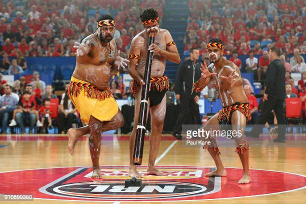 Indigenous dancers perform during the round 16 NBL match between the Perth Wildcats and the New Zealand Breakers at Perth Arena on January 27, 2018...