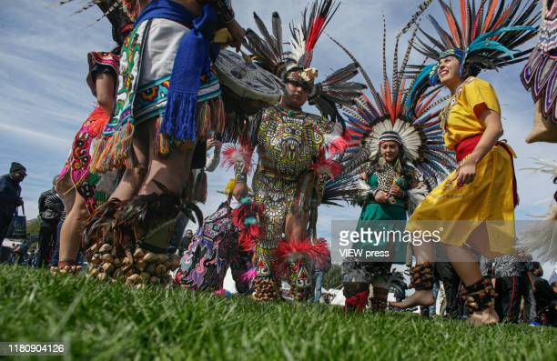 Indigenous descendible gather during the fifth annual Indigenous Peoples Celebration on Randall's Island on October 13, 2019 in New York. Hundreds of...