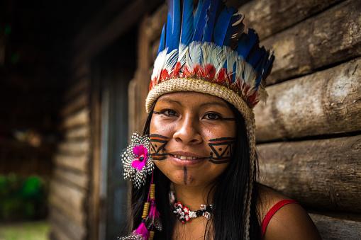 Indigenous girl from Tupi Guarani tribe in Manaus, Brazil 889470662