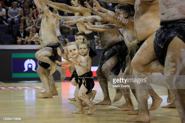 Indigenous kids dance to mark the NBL Indigenous round during the round 18 NBL match between the Illawarra Hawks and the New Zealand Breakers at WIN...