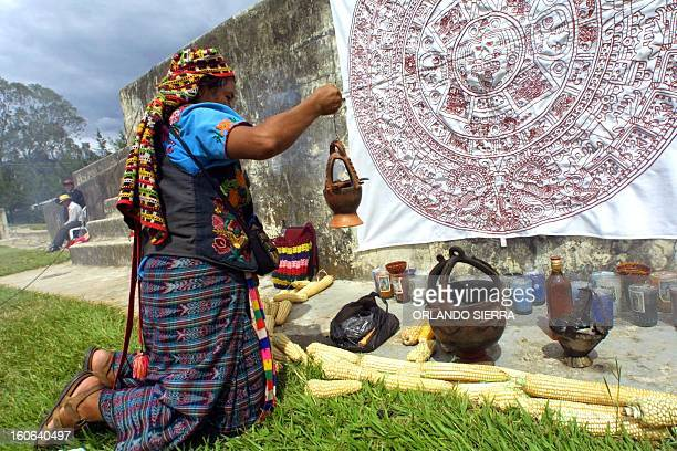 Indigenous leader Esperanza Chavez helps prepare the archaeological center of Zaculeu for the the Third Congress of Mayan Education, in...