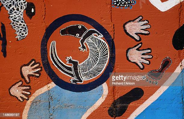 Indigenous mural painted onto a water-tank outside the town of Kununurra in the eastern Kimberley region.