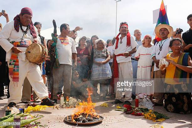 Indigenous of El Salvador Guatemala Mexico and Colombia participate in a ceremony during a celebration as part of the commemoration of the...