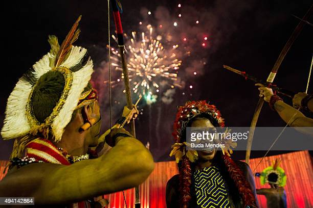 Indigenous people are seen watching fireworks during the first World Games for Indigenous Peoples on October 24 2015 in Palmas Brazil