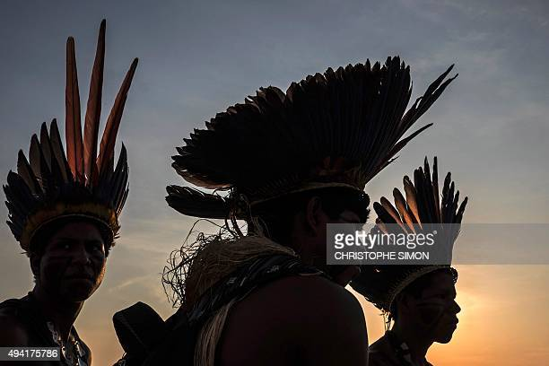 Indigenous people attend a competition during the I World Indigenous Games in Palmas Tocantins on October 24 2015 AFP PHOTO / CHRISTOPHE SIMON / AFP...