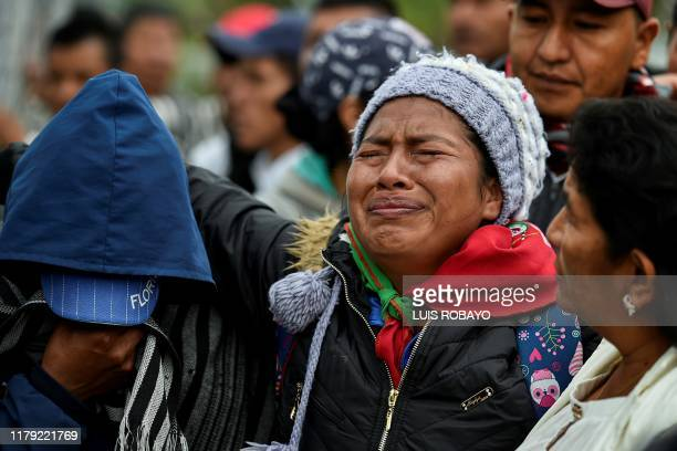 Indigenous people attend the funeral of the five indigenous guards killed during an attack by suspected rebels in Tacueyo, rural area of Toribio,...
