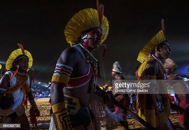 Indigenous people during the I World Indigenous Games opening ceremony in Palmas Tocantins on October 23 2015 AFP PHOTO / CHRISTOPHE SIMON