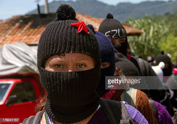 Indigenous people from Zapatistas territories arrive at the University of the Earth in San Cristobal de Las Casas Chiapas on August 11 2013 About...