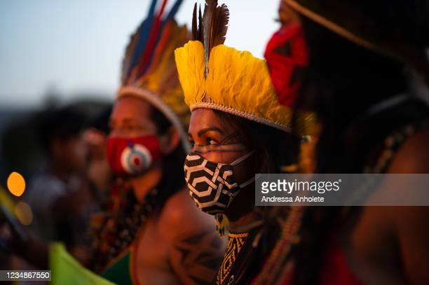 Indigenous people gather during a demonstration to protect their land on August 25, 2021 in Brasilia, Brazil. Over 6,000 indigenous people gathered...