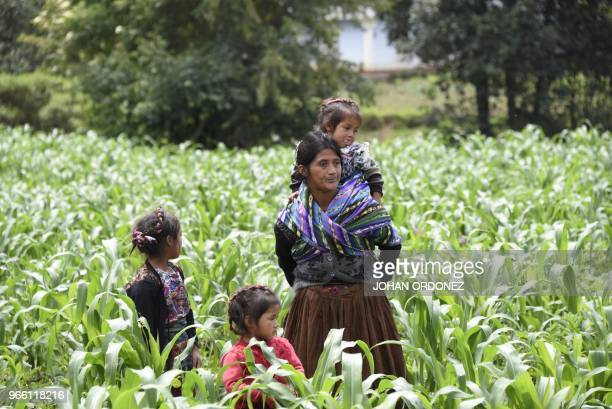 Indigenous people gather in the village of Los Mendoza San Juan Ostuncalco municipality Quetzaltenango department 115 km west of Guatemala City where...