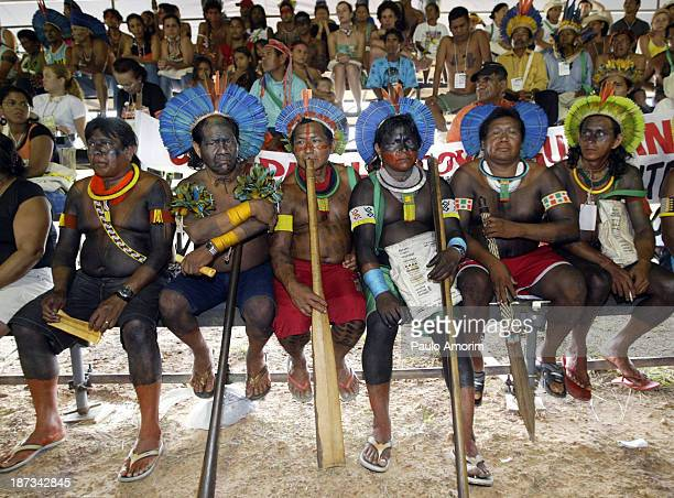 Indigenous people looks during the meeting at World Social Forum, in Belem, Brazil, Wednesday, Jan. 28, 2009. The World Social Forum, the annual...