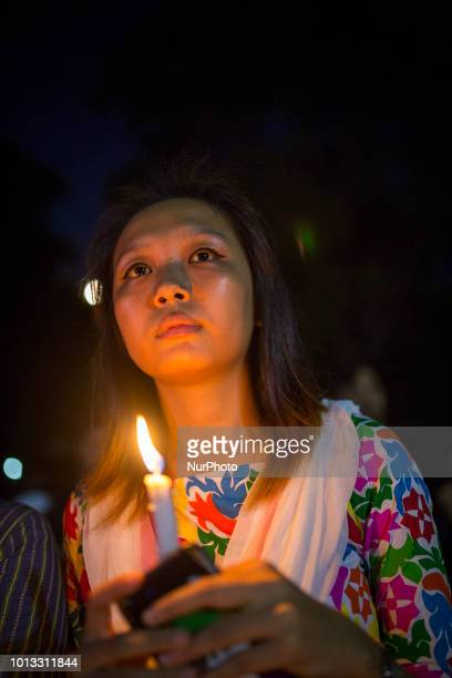 Indigenous People of Bangladesh celebrate the International Day of the World's Indigenous People by Lighting thousand candles at the Central Shahid...