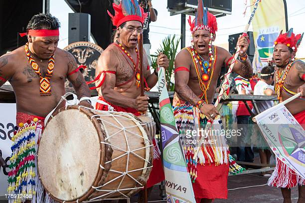 Indigenous peoples of French Guiana march on International Aboriginal Day in the capital Cayenne on August 9 2013 AFP PHOTO / JODY AMIET