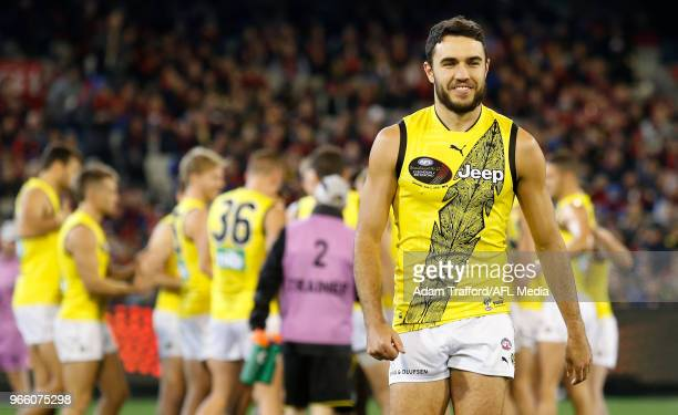Indigenous player Shane Edwards of the Tigers walks to the coin toss during the 2018 AFL round 11 Dreamtime at the G match between the Essendon...