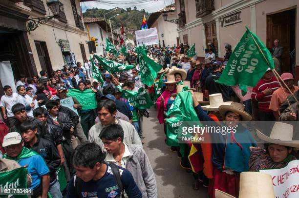 Indigenous populations protest the proposed Conga Gold Mine in Cajamarca Peru The mine is a project of the Denverbased Newmont Mining Co Photo taken...