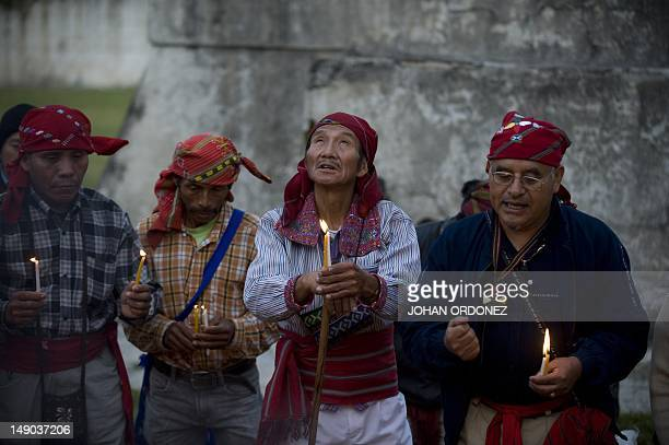Indigenous priests take part in a Mayan ceremony at the Zaculeu archaeological site in the Huehuetenango department 270 km west of Guatemala City on...