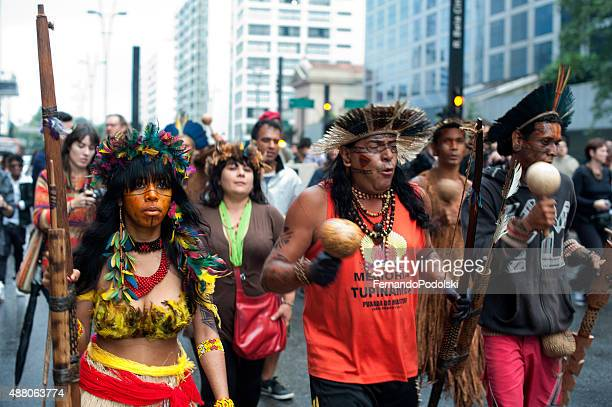 protesto indígena - protesto - fotografias e filmes do acervo