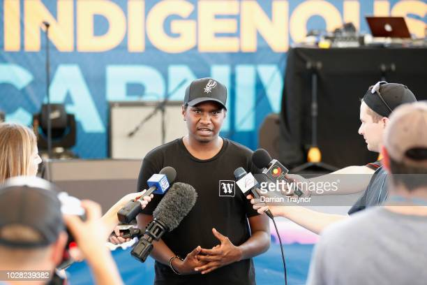 Indigenous rap artist Danzal Baker 'Baker Boy' speaks to the media during day 2 of the National Indigenous Tennis Carnival at Darwin International...
