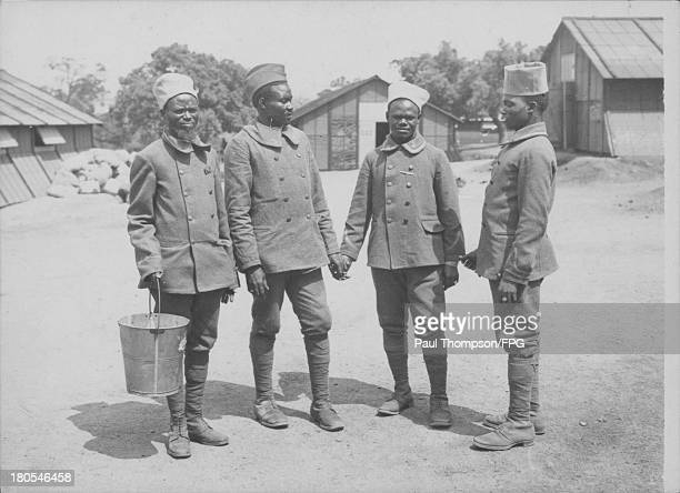 Indigenous Senegalese soldiers at a Sudanese camp during World War One circa 19141918