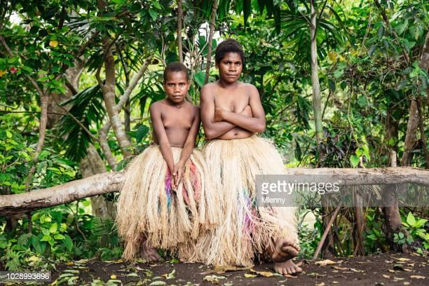 Indigenous Sisters Tanna Island Tribe Vanuatu Rainforest