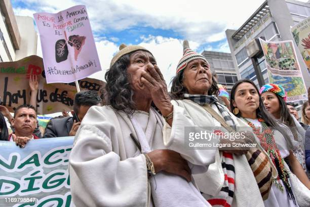 Indigenous take part during the 'SOS Amazonia' protest in response to Amazon rainforest fires called by Fridays for Future at Brazilian Embassy on...