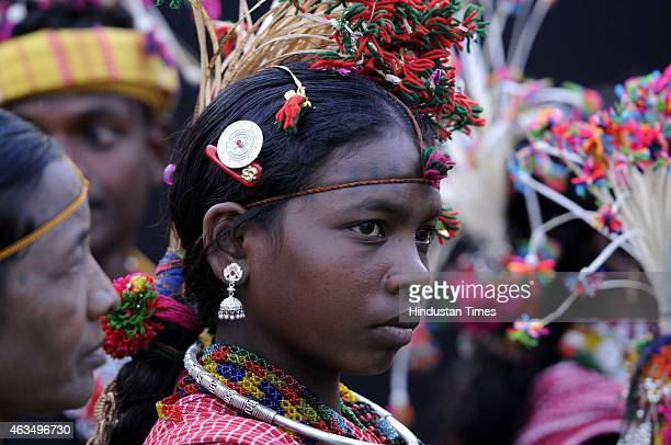 Indigenous tribal people from various parts of India participate at the National Tribal Festival at Central Park of Connaught Place area on February...