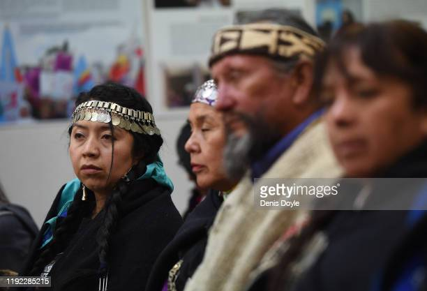 Indigenous tribes people from the Amazon basin attend a workshop on climate change ahead of the 'Fridays For Future' climate change mass protest on...