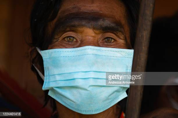 Indigenous wears protective mask to receive health care during the Yanomami / Raposa Serra do Sol Mission amidst the coronavirus pandemic at the 5...