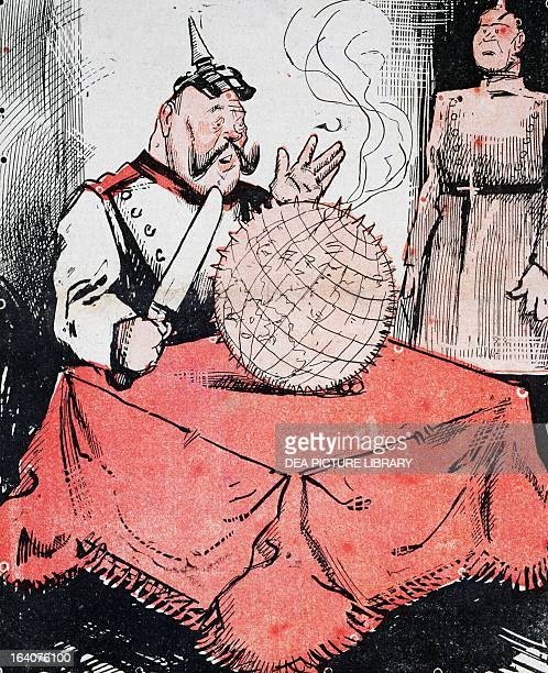 Indigestible fruit satirical cartoon dedicated to the German Kaiser Wilhelm II from L'Asino magazine 9 December 1917 World War I Italy 20th century...