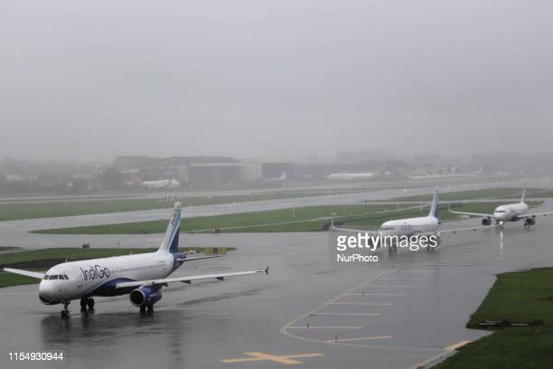 IndiGo aircraft queue up to take off on the runway at airport in Mumbai India on 10 July 2019 Shares of Indias largest airline crashed around 19 per...